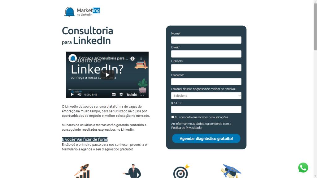 Página de captura para consultoria criada com o RDSM   marketingnolinkedin.com